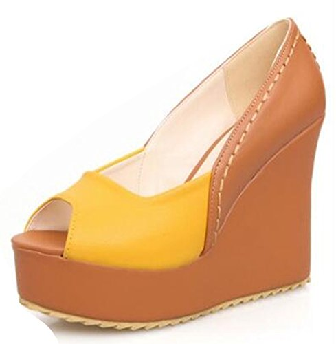 Easemax Womens Sexy Peep Toe High Con Zeppa Slip On Pumps Giallo