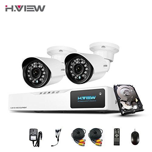 H. View HD Home Sicherheits-Kamera System mit 1TB HDD, 4Kanal AHD 720p CCTV DVR-Recorder, 21200TVL 1MP Videoüberwachung, wetterfest, Nachtsicht, Outdoor-Kamera, unterstützt Smartphone-Fernüberwachung