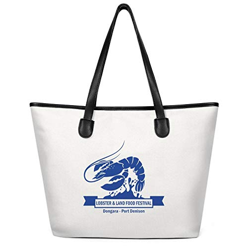 12.5X14 Inches Cute Zip Casual Canvas Large Tote Bag for Women Lobster Festival Land Food Blue Reusable Grocery Beach Work Gym Book Lunch School Shopping Shoulder Handbag]()