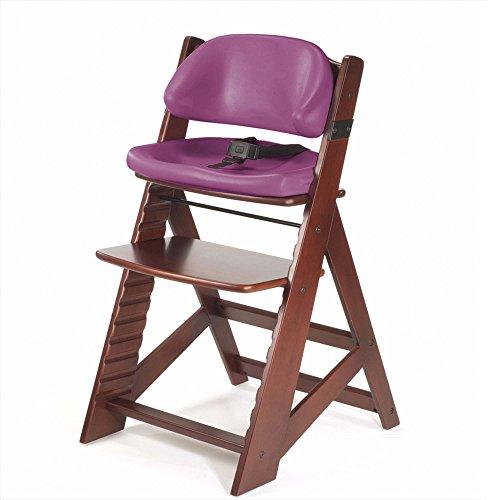Keekaroo Height Right Kids Chair Mahogany with Comfort Cushions, Raspberry