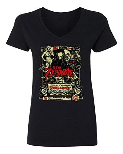 RIVEBELLA New Graphic Horror Movie Novelty Tee Zombie Dead Return Womens Vneck T-Shirt (Black, L) -
