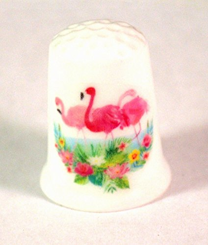 Collectible Thimble with Flamingos Tropical