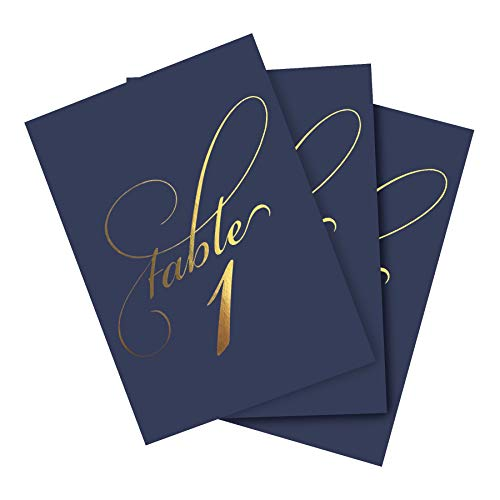 Bliss Paper Boutique Navy & Gold Wedding Table Numbers (Assorted Color Options Available), Double Sided 4x6 Calligraphy Design, Numbers 1-40 & Head Table Card Included
