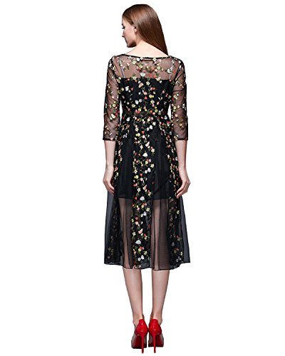 Cocktail Evening Floral Women's Sheer Fitaylor Embroidered Dress FTvXqWg