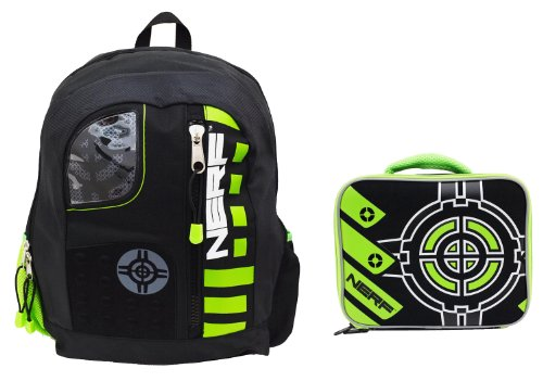 Nerf Backpack and Matching Lunch Tote – Black/Green, Bags Central