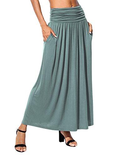DJT Women's Rayon Spandex High Waist Shirring Maxi Skirt with Pockets Small Light ()