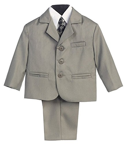 5 Piece Light Gray Suit with Shirt, Vest, and Tie - Size XL (18 Month)