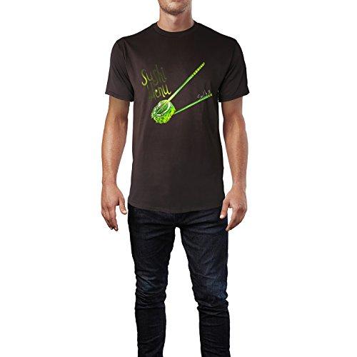 SINUS ART® Sushi Menu Herren T-Shirts in Schokolade braun Fun Shirt mit tollen Aufdruck