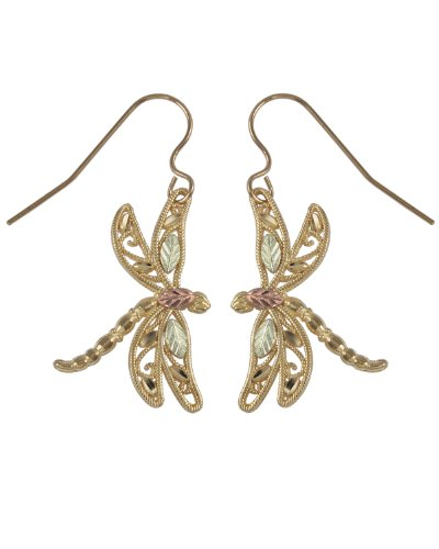 Dragonfly Earrings, 10k Yellow Gold, 12k Green and Rose Gold Black Hills Gold Motif by The Men's Jewelry Store (for HER)