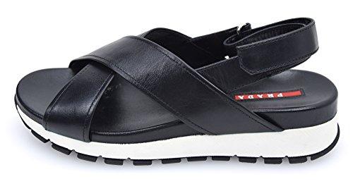 PRADA Shoes 6022 Black and Code Black X Bianco Woman 3 White Nero White Sandal 36 Leather narvaI6