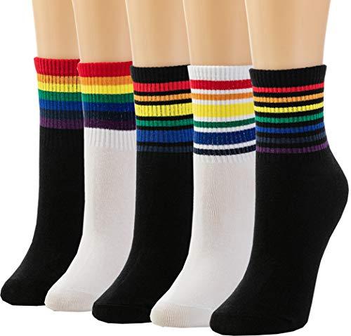 Losa Kute 4/5 Pairs Womens Crew Socks Women Casual Nolvety Funny Long Cute Socks (B 5 Pairs Rainbow)