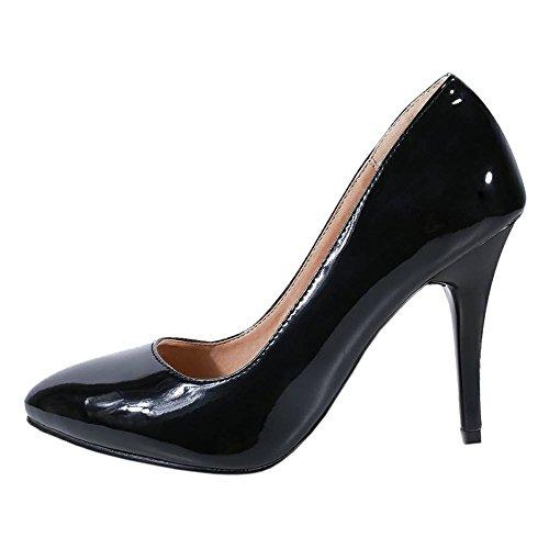 Bout 3 Haut Enfiler Escarpins À Femmes Chaussures Taoffen Briller Fermé Black Talon Ew1P7q