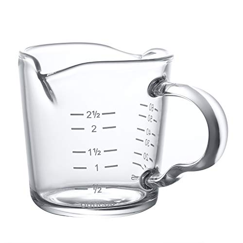 70ml Mini Glass Measuring Cup with Handle 2 oz Shot Glass Espresso Jugs Measure Cup Glass Jigger Spirit Round Graduated Beaker Measuring Cup for Bar Party Wine Cocktail Drink Shaker Milk Coffee