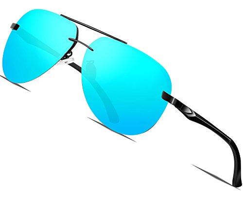 ATTCL Hommes aviator Lunettes de soleil Polarisé Cadre en métal ultra léger  Bleu 0799988fb7e1