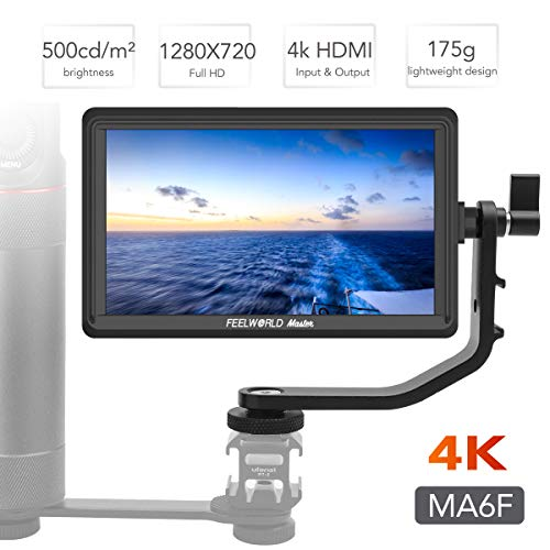 Feelworld Master MA6F 5.5 Inch DSLR Monitor 4K HDMI 8.4V DC in/Out, Full HD 1920x720p LCD Camera Field Monitor Tilt Arm ()