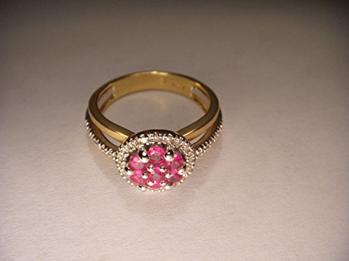 Beautiful Estate 14K 2-Tone Two-Tone Gold Ruby Diamond Floral Ring Band ()