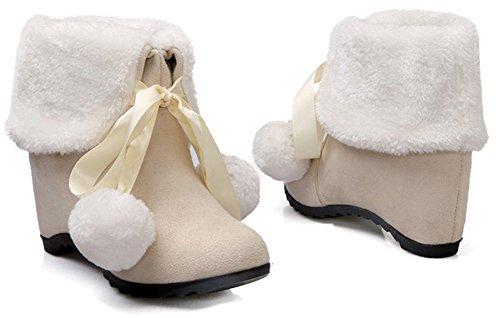 Idifu Womens Chic Faux Suede Pluizig Bont Veter Laag Lage Sleehak Ronde Neus Enkel Snowboots Beige