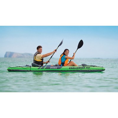 68306EP Intex Challenger K2 Kayak, 2-Person Inflatable Kayak Set with Aluminum Oars and High Output Air Pump by Intex
