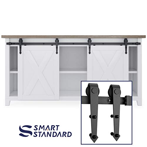 (6ft Double Door Cabinet Barn Door Hardware Kit- Mini Sliding Door Hardware - for Cabinet TV Stand - Simple and Easy to Install - Fit 24