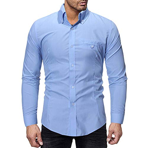 Men,Cinsanong Sale! Mens Beefy Solid Splicing Blouse Muscle Button Basic Blouse ()