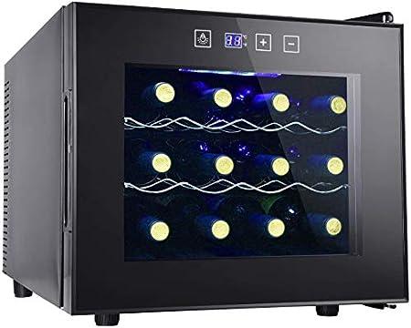 Vinoteca 12 Botellas, Nevera Vinos Independiente para Vino Tinto, Blanco, Champán o Espumoso, Nevera para Vinos conControl de Temperatura Digital, Puerta de Vidrio para Refrigerador, negro