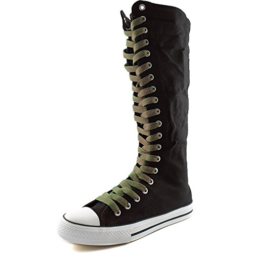 DailyShoes Womens Canvas Mid Calf Tall Boots Casual Sneaker Punk Flat, Black Boots, Taupe Lace