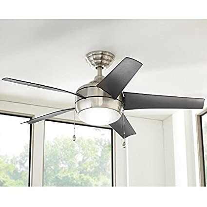 nickel ceiling fan with light small 3 blade led indoor brushed nickel ceiling fan with light kit windward 44 in