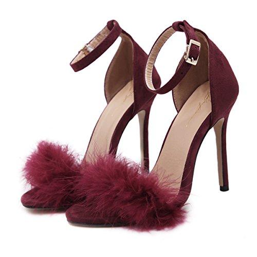 YCMDM DONNE I nuovi sandali tacco alto piuma , wine red , 39