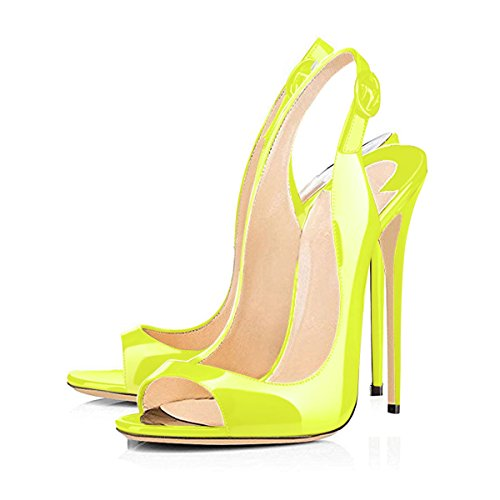 Sandals Yellow Stiletto Women's Slingback Heel Onlymaker Pumps Peep Heeled Toe High xBwIwqCTA