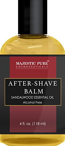 After Shave Balm for Men with Sandalwood Essential Oil by Majestic Pure - Moisturizing and Nourishing Aftershave Lotion, for Silky Smooth Shaving, 4 fl - Essential Shave Oil