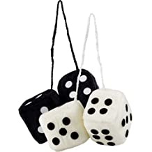 2 Pack Vintage Automotive Fuzzy Dice - White & Black for Rearview Car Mirror