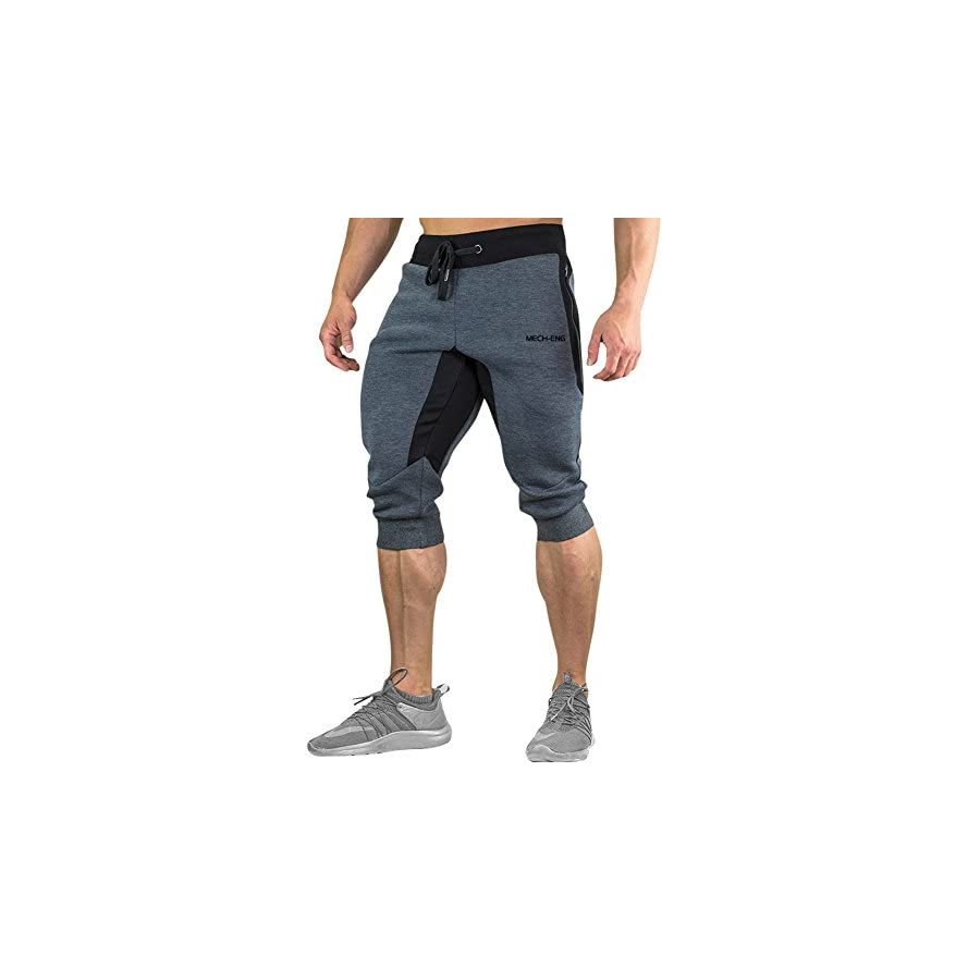MECH ENG Men's 3/4 Joggers Pants Workout Gym Capri Shorts Zipper Pockets