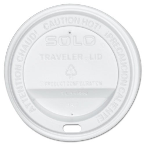 SOLO Cup Company Traveler Drink-Thru Lid, Fits 10 oz Hot Beverage Cups, White, 300/Carton