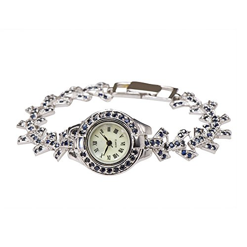 Natural Blue Sapphire Antique-like Vintage Mother of Pearl Bow Watch 925 Silver from Caratera Fine Jewelry