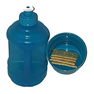 Water Bottle with Twist Snack Storage Cup Holder Container (Blue)