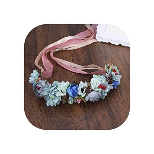 Summer Wedding Floral Crown Head Band Kids Party Wreath Floral Garlands Ribbon Adjustable Flower Crown Rose For Women,4 (Garland Kohls)