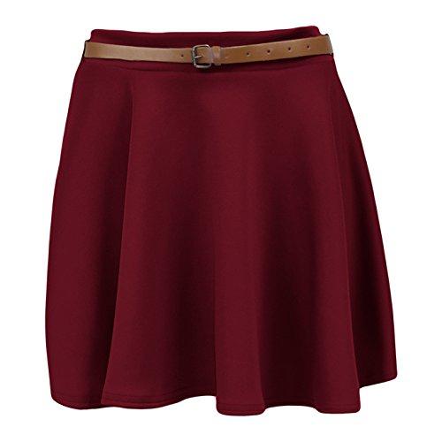 Pantalones de deporte para mujer circuito de Mini falda plisada de traje de neopreno para mujer Belted de destornilladores Casual para vestidos de fiesta 8-14 Rojo