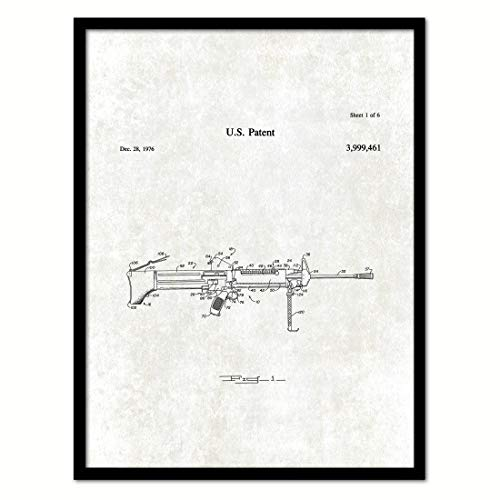 Modular Office Cottage (1976 Modular Lightweight Squad Automatic Weapon Vintage Patent Canvas Print, Art, Black Framed, Urban, Modern, Great for Office, Home, Gifts Ideas, Home Decor, Ready to Hang, 7