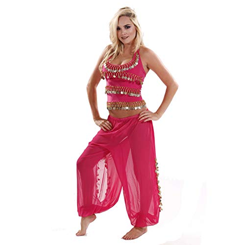 MissBellyDance Harem Pants & Halter Top Belly Dancer Costume Set | Sadiqa II (Fucshia/Gold, Small) - CS12 -