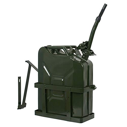 (Clever Market Gas Tank Metal Automotive Jerry Can Fuel Steel Tank 5 Gallon Solid Holder Military Green NATO Army Style Durable Gasoline Tank 20L)