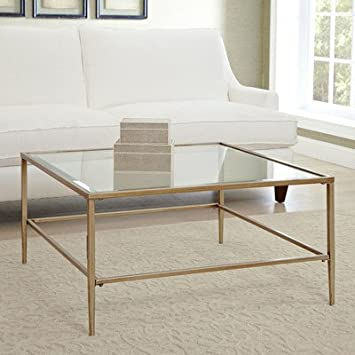Amazoncom Nash Square Coffee Table Made of Glass Top And Gold
