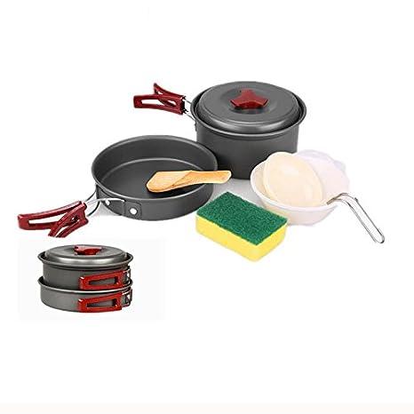 Portable Camping Kit de Utensilios de Cocina Antiadherente Sartenes Platos Ligero para Acampar Backpacking Gear Senderismo Barbacoa al Aire Libre Incluido 2 ...