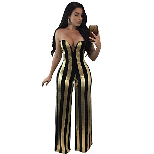 Metallic Stripe Pants - Women Strapless Off Shoulder V Neck Metallic Stripe Wide Leg Pants Jumpsuit Romper Outfits