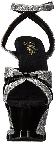 Pleaser Women's Moon-728 Sandal Slv Glitter-black Patent/Black kkgLuc