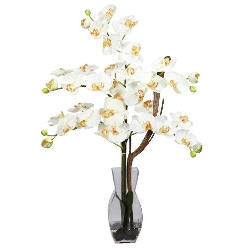 Nearly Natural 1191-CR Phalaenopsis with Vase Silk Flower Arrangement, Cream