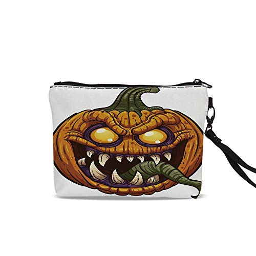 Halloween Makeup Brush Bag,Scary Pumpkin Monster Evil Character with Fangs Aggressive Cartoon For Women Girl,9