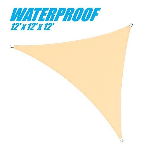 ColourTree 12' x 12' x 12' Beige Triangle Waterproof 220 GSM 100% BLOCKAGE Commercial Standard Heavy Duty Sun Shade Sail Canopy
