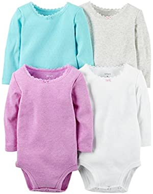 William Carter Baby Girl 4 Pack Long Sleeve Bodysuits Undershirt Clothes Set