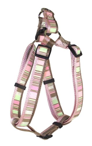 Hamilton Spumoni Collection Nylon Adjustable Easy on Dog Harness, 5/8-Inch by 12 to 20-Inch, Horizontal Stripes