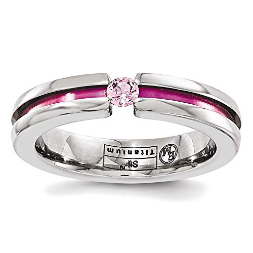 Edward Mirell Titanium Tension Set Pink Sapphire and Anodized Groove 4mm Wedding Band - Size -